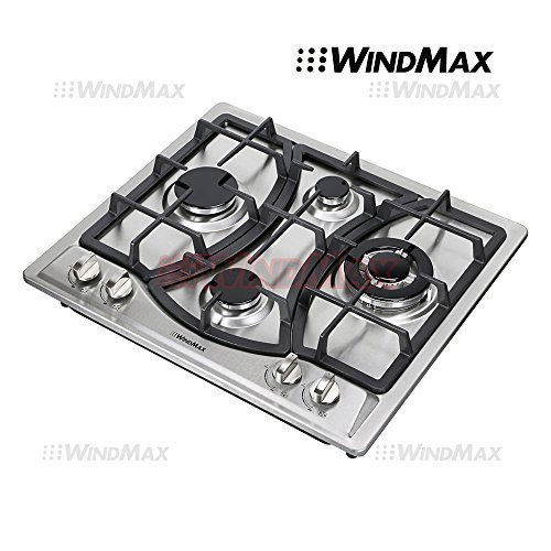 Ships From CA, USA 23″ Elegant Curve Stainless Steel 4 Burners Stove NG/LPG Gas Hob Cooktop Cooker