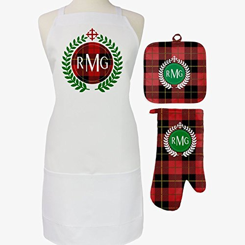Personalized Direct Festive Red Plaid 3-Piece Personalized Apron, Pot Holder and Mitt Set by Personalized Direct