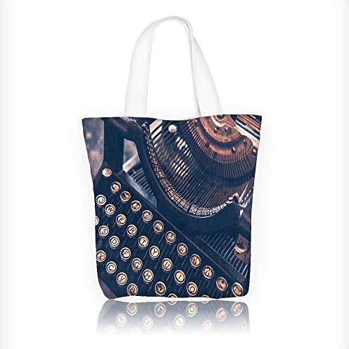 (Canvas Zipper Tote Bag Printed Antique Typewriter Vintage Typewriter Machine Closeup Photo. Reusable Canvas Zipper Tote Bag Printed 100% Cotton W11xH11xD3 INCH)