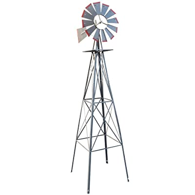 VINGLI 8FT Ornamental Windmill Backyard Garden Decoration Weather Vane, Heavy Duty Metal Wind Mill w/ 4 Legs Design, Grey : Garden & Outdoor