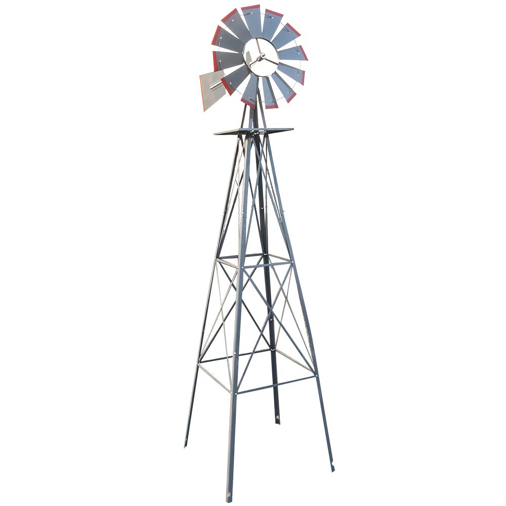LxHealthy 8FT Windmill for Yard Garden Metal Ornamental Wind Mill Weather Vane Weather Resistant