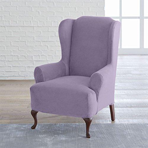 Brylanehome Studio Vera Stretch Velvet Wing Chair Slipcover (Dusty Purple,0)