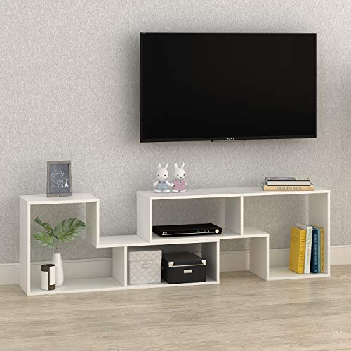 DEVAISE TV Stand, Modern and Versatile Entertainment Center Media Stand, Used as a Bookcase, TV Console or Storage Shelf for Your Living Room, 0.59 Thick, White