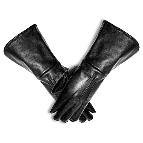 MEN'S MEDIEVAL RENAISSANCE UNLINED GAUNTLET GLOVES (LARGE, BLACK)