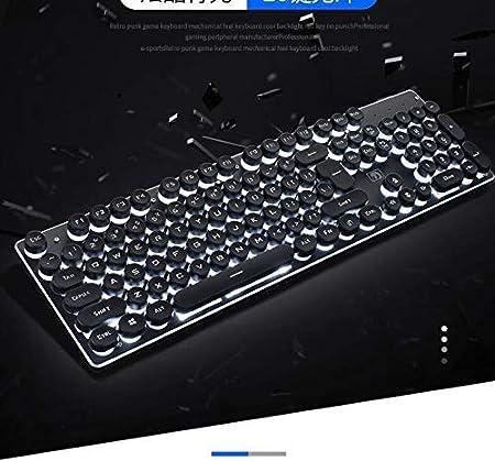 Teclado mecánico para máquina de escribir, estilo retro steampunk, 104 teclas, antifantasma, retroiluminado, para PC y Mac