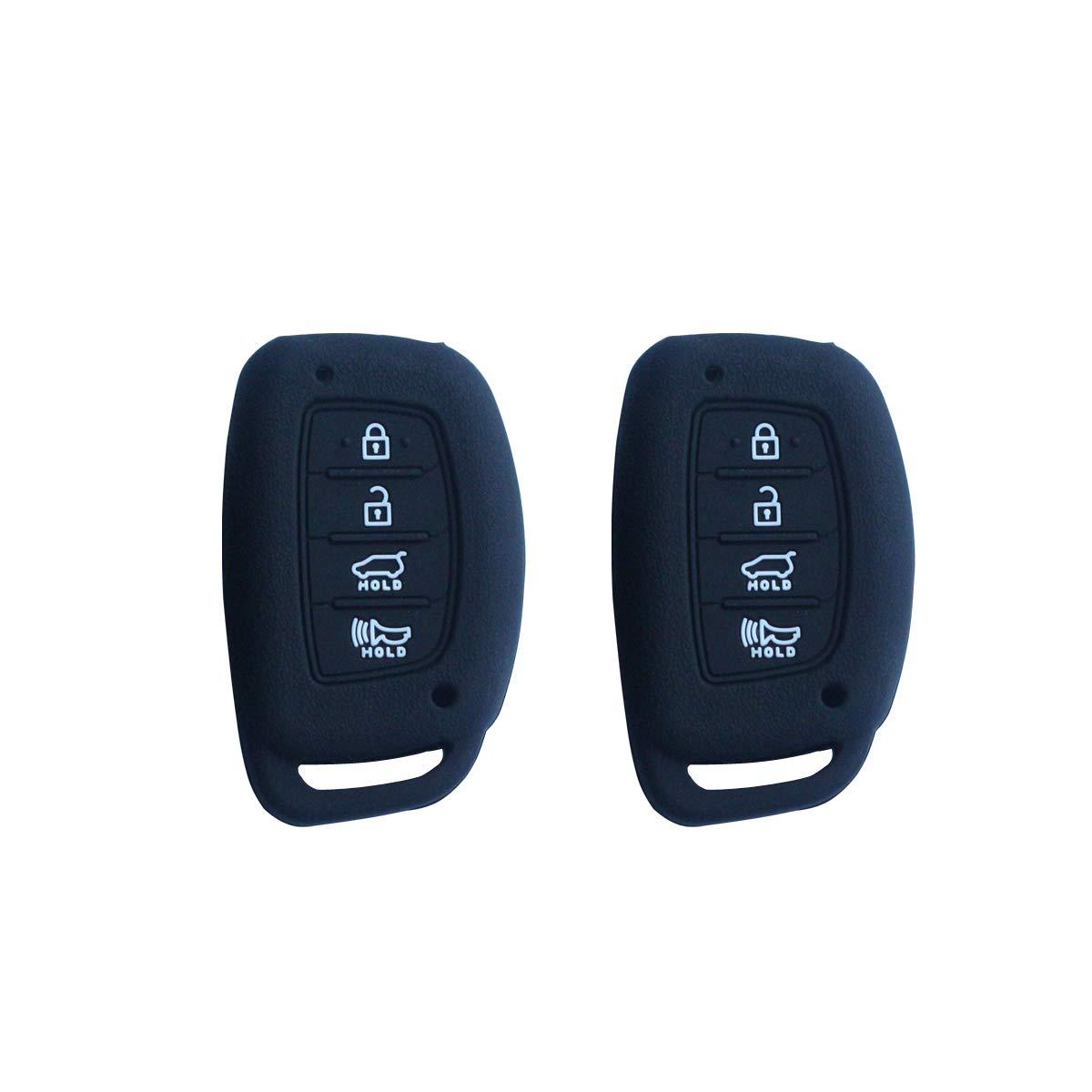 3pcs Car Remote Key Cover Fob Silicone Skin Case for Hyundai Tucson I40 IX35 I45 Elantra Rayna Sonata Smart Keys Outer Casing Shell Jacket Protector 4 Buttons