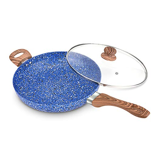 MICHELANGELO 12 Inch Frying Pan with lid, Ultra Nonstick Granite Rock Pan, Granite Stone Pan Induction Ready - Blue ()