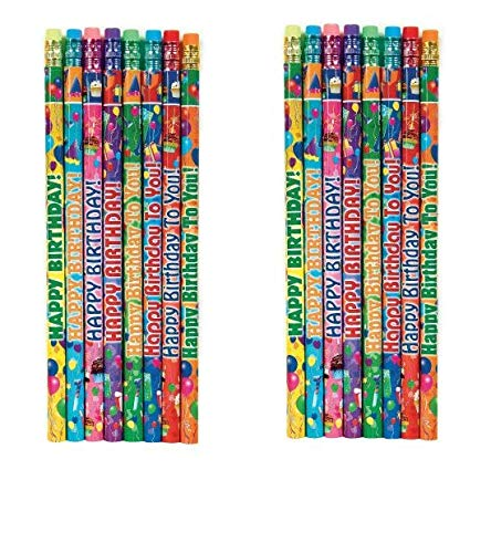 Geddes Happy Birthday Pencil Assortment, Set of 144 (66273) (2-Pack)
