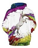 NEWCOSPLAY Unisex Hooded Sweatshirts Soft & Cozy Fashion Hoodies (XXL, Rainbow Unicorn)