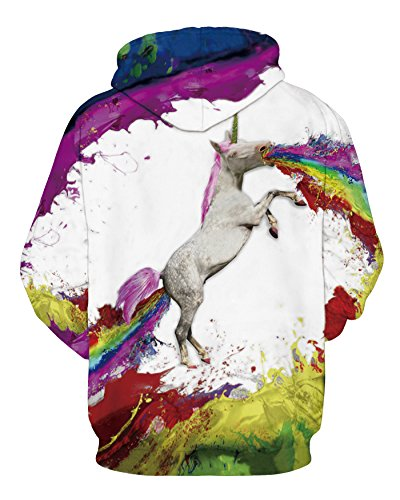 NEWCOSPLAY Unisex Realistic 3D Digital Print Pullover Hoodie Hooded Sweatshirt (S/M, rainbow unicorn)