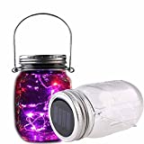 Solar Mason Jar Lights 10 LED Chandelier Morden Country Fairy Starry Hanging Lanterns Rustic Vintage Wedding Tabletop Decor Canning Pendant Lighting Color Changing 1 Pack