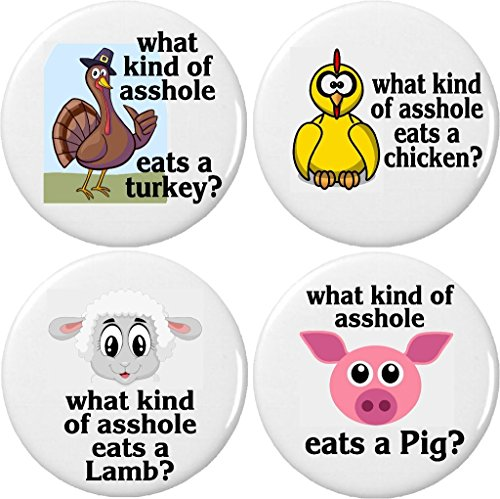 "Set 4 What kind of ahole eats a turkey chicken lamb pig 2.25"" Large Magnets Vegan -"
