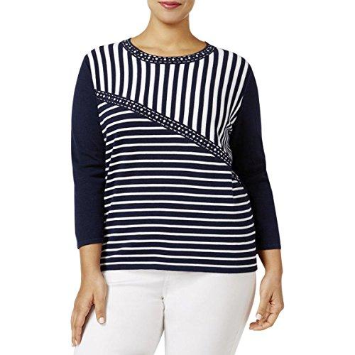 Metallic Stripe Sweater - Alfred Dunner Women's Plus Size Splice Stripe Sweater 3/4 Slv, Multi, 2X