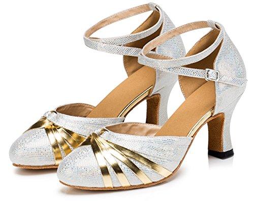 Glitter Salsa Scarpe T Ballo Punta Chiusa Pu Da Tango strap Latin Tacco Ballroom Pelle Alto Qj6133 In nbsp;donna Silver Minitoo CtrxdBQsh