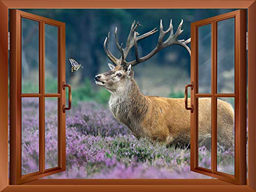 An Elk Deer and a Butterfly outside an Open Window Removable Wall Sticker Wall Mural