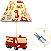 Kids Table Lamp,YIIYAA Transportation Red Fire Warm White LED Bedside Lamps with Fabric Lampshade for Boys' Room