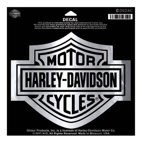 - Harley-Davidson Bar & Shield Chrome Large Decal, Large Size Sticker D3024C