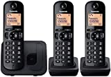 Panasonic KX-TGC213EB Digital Cordless Phone with LCD Display (Three Handset Pack) - Black