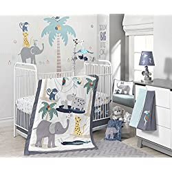 Lambs & Ivy Animal Crackers Jungle 4 Piece Baby Boy Crib Bedding Set, Gray/Blue