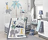 Lambs & Ivy Animal Crackers Jungle 4 Piece Crib Bedding Set, Gray/Blue