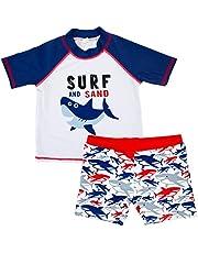 Traje de Baño de Protección Solar para Niños Boy Surf Traje de Baño de 2 Piezas de Manga Corta + Traje de Baño de Dibujos Animados de Impresión Bebé