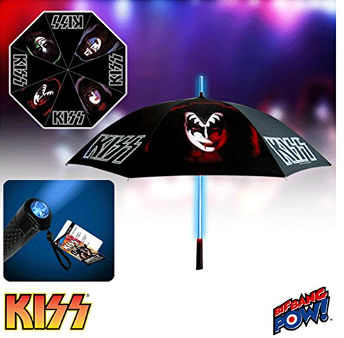 KISS Retro Umbrella with Light-Up Tube and Flashlight Handle (Adult Kiss The Catman Costume)