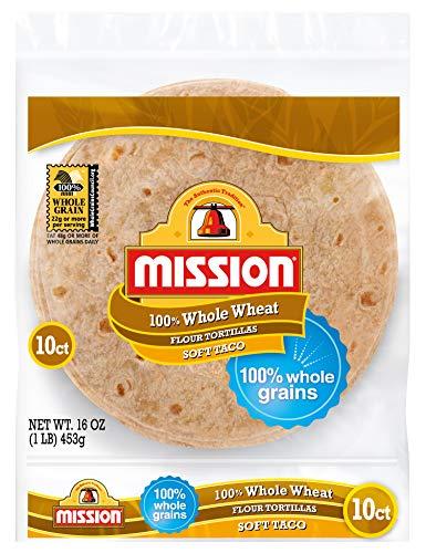 Mission Soft Taco Whole Wheat Tortillas | Whole Grain, High Fiber, Trans Fat Free | Small Size | 10 Count
