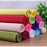 Generic as the picture, 50x250cm : Size:50*250cm/Roll DIY Pink Flower/Gift Decoration Wrapping Packing Crepe Papers Cute Handmade Materials of Crinkled Papers