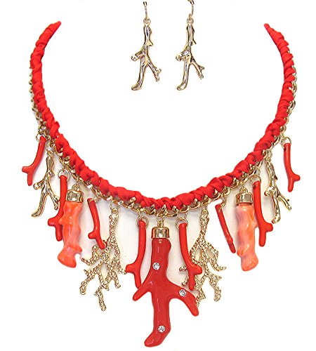 Fashion Jewelry ~Coral Reef Charms Pendant Chunky Necklace and Earrings Set (Goldtone, Red) ()