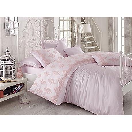 Dantela Vita Cotton Satin Sheet Set For Queen Bed Valenta Powder
