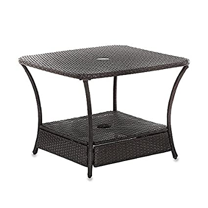 Amazon Com Umbrella Stand Side Table Base In Wicker For Patio