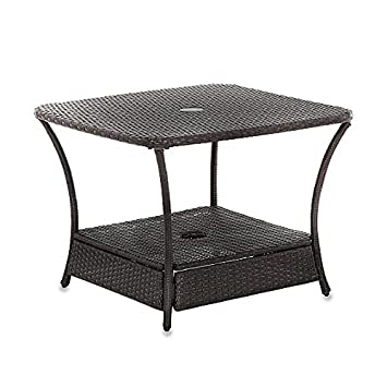 Umbrella Stand Side Table Base In Wicker For Patio Furniture Outdoor