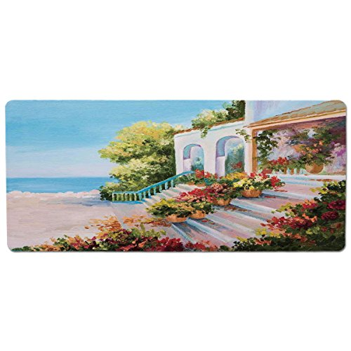 Mouse Pad Unique Custom Printed Mousepad [ Landscape,Sea View from The Terrace of a Retro House Art Flowers Old Stairs,Light Blue Beige Green ] Stitched Edge Non Slip Rubber (Terrace View)
