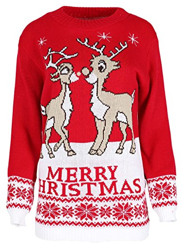 Chocolate Pickle New Ladies Mens Rudolph Twin Reindeer Xmas Knitted Sweater Jumper Red 1XL (811 Chocolate)