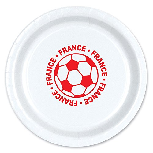 Club Pack of 96 Red and White Disposable ''France'' Soccer Ball Paper Party Dinner Plates 9'' by Party Central