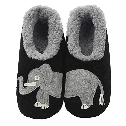 Snoozies Womens Classic Splitz Applique Slipper Socks | Elephant | Large