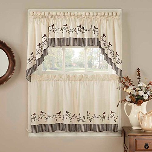 5 Piece Chocolate Color Curtain Tier & Swag Set, Dark Brown Color Birds Pattern Animal Print Chirp Twitter Tweet Buzz Sing Whistle Embroidered Antique Country Vintage Traditional Vibrant, Polyester