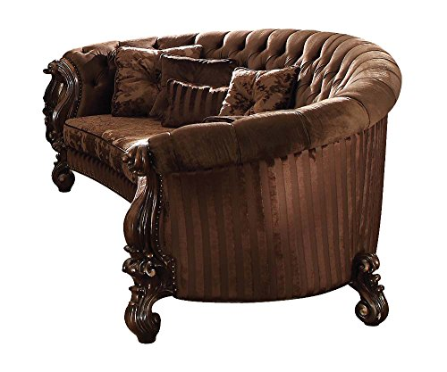 Acme Furniture 52080 Versailles Sofa w/5 Pillows, Brown Velv