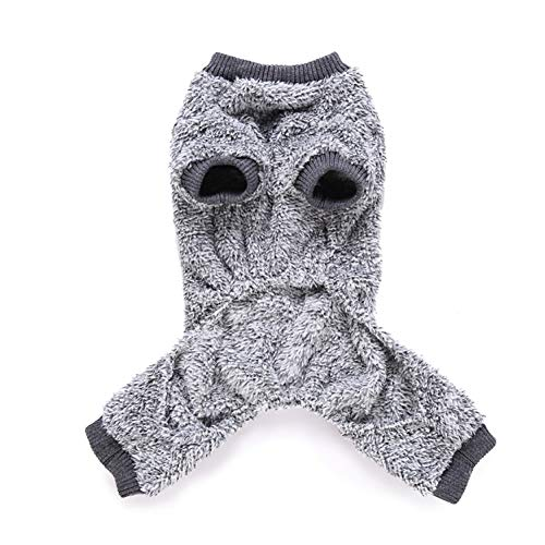 (wintefei Thermal Fuzzy Pet Clothes Dog Puppy Buttons Autumn Winter Pajama Coat Jumpsuit Grey M)