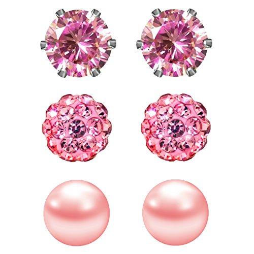 JewelrieShop Cubic Zirconia Rhinestones Crystal Ball Faux Pearl Birthstone Stud Earrings for Women Girls - Hypoallergenic Stainless Steel Earrings - 3 Pairs - Pink (Oct.)