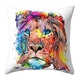 Colorido Fashion Lion Tiger Pattern Throw Pillow Case Waist Cushion Cover Home Sofa Decor size Medium (16#)