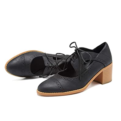 1170170f777ca SNIDEL Oxford Shoes for Women Ankle Boots Pu Leather Vintage Oxfords Lace  Up Chunky Heel Pump