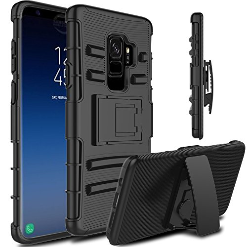 Galaxy S9 Plus Case, Venoro Heavy Duty Shockproof Armor Holster Defender Full Body Rugged Protective Case Cover with Kickstand and Belt Swivel Clip for Samsung Galaxy S9+ / SM-G965U / SM-G965F (Black)