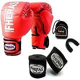 Kit Boxe Muay Thai - Luva + Bandagem + Bucal Vermelho - Fheras