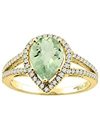 14K Gold Natural Green Amethyst Ring Pear Shape 9x7 mm Diamond Accents, sizes 5 - 10
