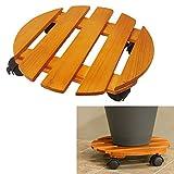 14 Inch Round Wood Roller Planter Caddy Fruitwood Slatted Wheel Plant Pot Caddie