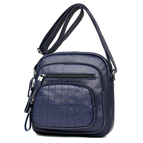 OME&QIUMEI Niña Madre Package-Ancianos Bolsa Bolso Único Paquete Diagonal (21*22*7Cm) Azul Blue