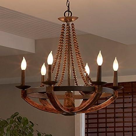 Jinyuze rustic wooden chandelier iron burnished wood sculpted wood jinyuze rustic wooden chandelier iron burnished wood sculpted wood beads 3 light6 aloadofball Gallery