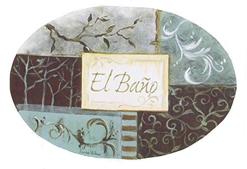 The Stupell Home Decor Collection El Bano Aqua and Grey Patchwork Oval Bathroom Wall Plaque