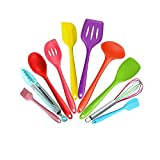 10 Piece Silicone Kitchen Utensils Set, Heat Resistant Multicolor Kitchen Cooking Set Including Brush, Tongs, Spoon, Slotted Spoon, large Spatula, Slotted turner, ladle, Baking Spoonula
